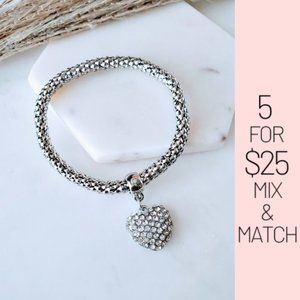 Jewelry - 5 for $25 Silver Color Heart Charm Bracelet